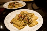Chicken and chorizo rigatoni with a simple basil and pine nut pesto