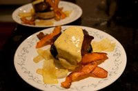 Beef fillet on a massive garlic field mushroom, drowning in bearnaise sauce, with potato and sweet potato thins