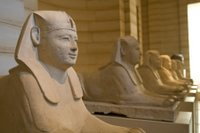 Lining up the sphinxes at the Louvre in Paris, France