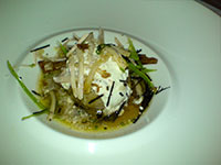 New season baby potato steamed and garnished with roasted Pork Belly, crackling, shallot sour cream and Truffles