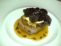 Grilled grain-fed fillet of beef, garnished with Foie Gras, shallots braised in red wine, chestnuts and Manjimup Truffles, served with a Madeira sauce