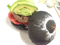 The interesting charcoal and avocado beef burger at Let's Burger Plus, Sanlitun (三里屯,) Beijing (北京,) China