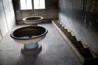 Wash basins at the Sachsenhausen concentration camp, Germany