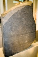 The Rosetta Stone at the British Museum in London, England