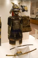 Samurai armour and weapon at the British Museum in London, England