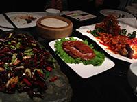 Chilli Wagyu beef, Peking duck, crispy fish, at Da Dong restaurant