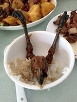 Wild chicken at a restaurant in Harbin