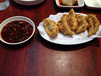 Nice restaurant 1: jiaozi (Chinese dumplings) with a tasty chilli sauce
