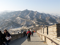 Looking down the Great Wall. To the left is China side, to the right is Mongolia side