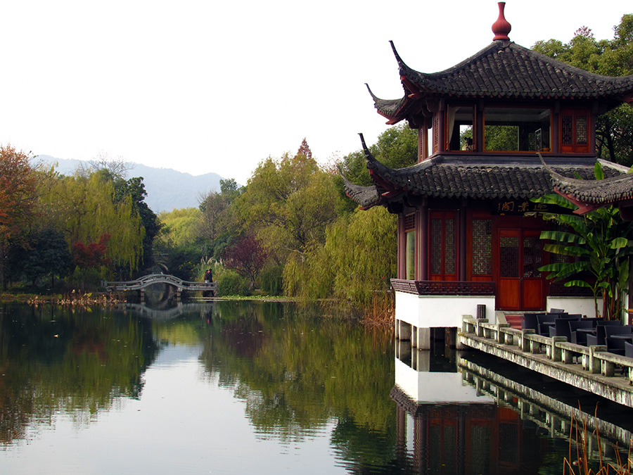 Chinese building by West Lake