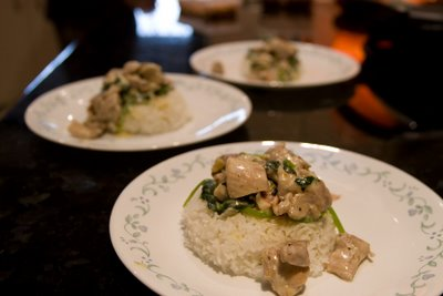 Creamy chicken spinach rice