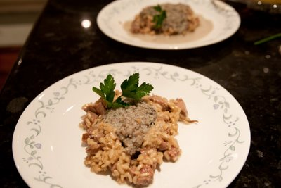 Fillet and truffle oil risotto with a creamy mushroom foam