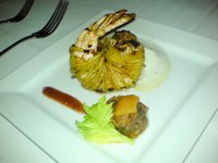 Tiger prawn filled with shredded honey-glazed pork belly, with a spicy plum sauce and a granny smith apple cloud