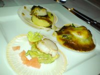 Scallops 'Three Ways': pan-fried scallops on avocado, potato gnocchi and gratinated with mushroom hollandaise