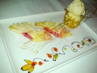 Rhubarb and quark strudel with hazelnut crumble and honey ice cream