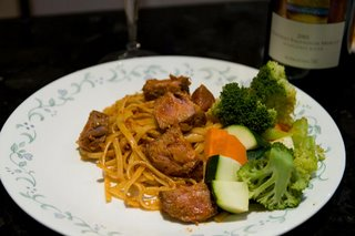 Linguine with beef and bacon