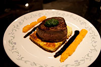 Fillet with lines of balsamic reduction, pumpkin puree, on a fried haloumi bed with a basil puree cap