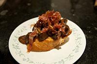 Mushroom and crispy prosciutto bruschetta