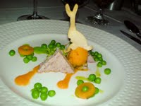 Rabbit terrine with peas and carrot