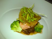 Tasmanian salmon, oxtail, red wine, and porcini mushrooms