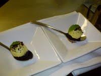 Second interruption, a passionfruit sorbet on a dark chocolate torta