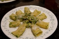Spinach, walnut and chicken pesto with a super-sized rigatoni-like pasta